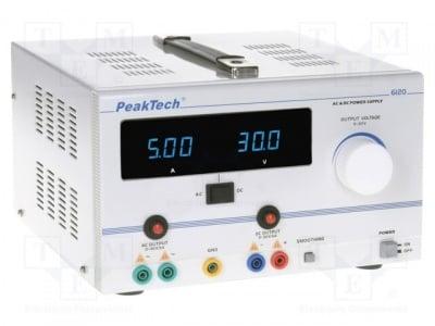 Лабораторно захранващо устройство PKT-P6120 Захранване лабораторен AC/DCрегулируем многоканален 0?30VDC