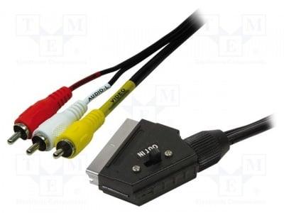 Аудио видео кабел SCART-3RCA CA1029 Кабел; RCA щепсел x3,SCART щепсел; 2m; черен