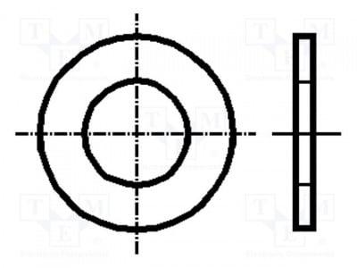 Шайба B3/BN1074 Шайба; кръгла; M3; D=7mm; h=0,5mm; полиамид; DIN: 125A; BN: 1074