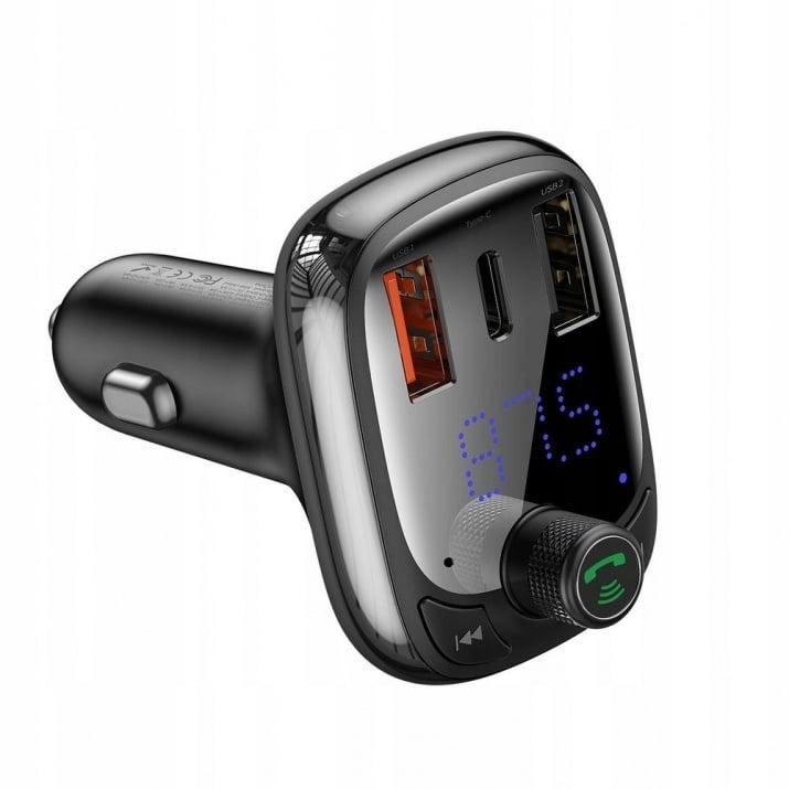 Трансмитер  автомобилен BASEUS FM Bluetooth MP3 с зарядно за кола 2 x USB 5A QC CCTM-B01