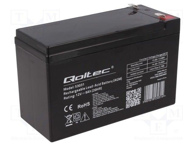 Акумулатор QOLTEC ACCU-HP9-12/Q Акумулатор оловно-киселинен 12V 9Ah AGM необслужваем 152x65x94mm