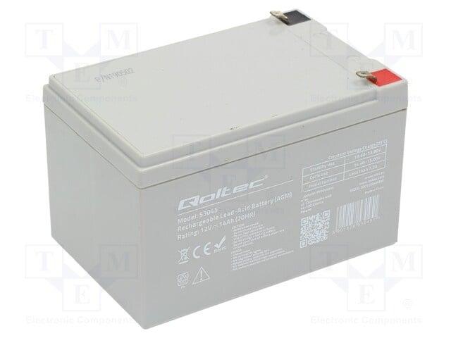 Акумулатор QOLTEC ACCU-HP14-12/Q Акум: оловно-киселинен; 12V; 14Ah; AGM; необслужваем; 150x97x95mm